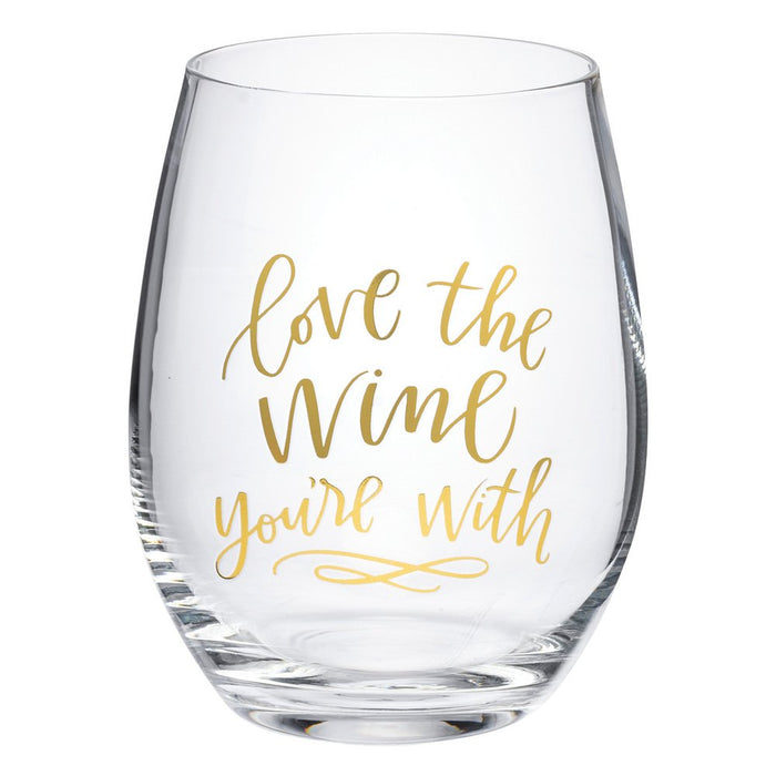 Primitives By Kathy Love The Wine You're With Stemless Wine Glass