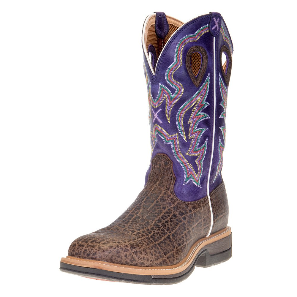 "Men's Twisted X Brown Elephant Print 12"" Purple Alloy Toe Work Boots"