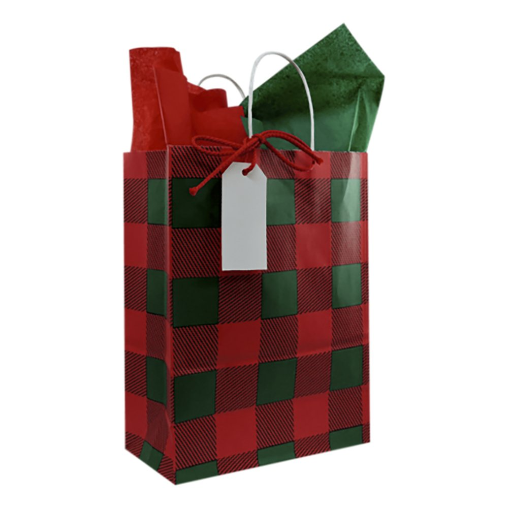 Christmas Lumberjack Gift Bag with Tissue Paper