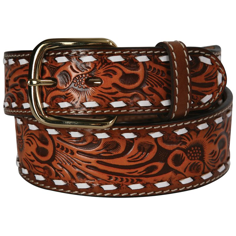 Men's 3D 1-1/2in. Natural Floral Buckstitch Belt