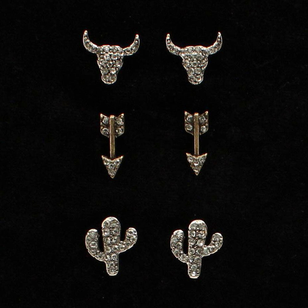 Womens 3 Piece Arrow/Cactus Earring Set