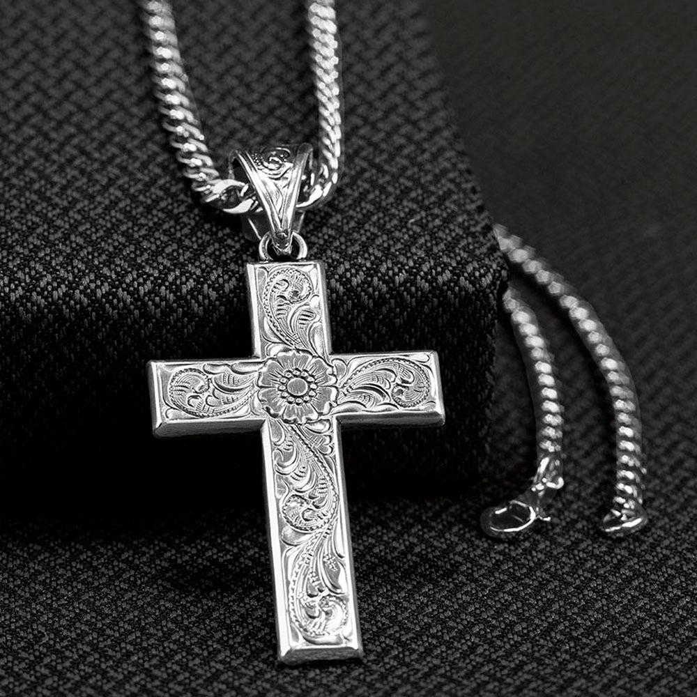 Men's Twister Silver Scrolled Cross Necklace
