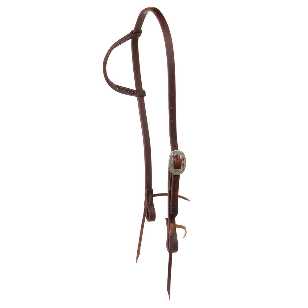 "Cowperson Tack 5/8"" Engraved Center Bar Buckle Slide Ear Headstall"