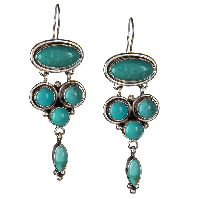 French Hook Turquoise Cluster Dangle Earrings