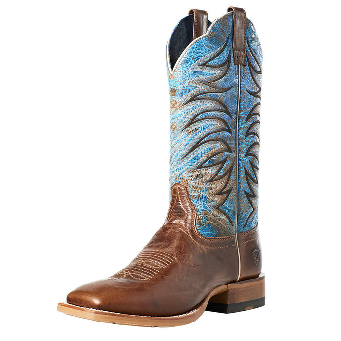 "Men's Ariat Firecatcher Well Brown 13"" Blue Lake Top Square Toe Boots"