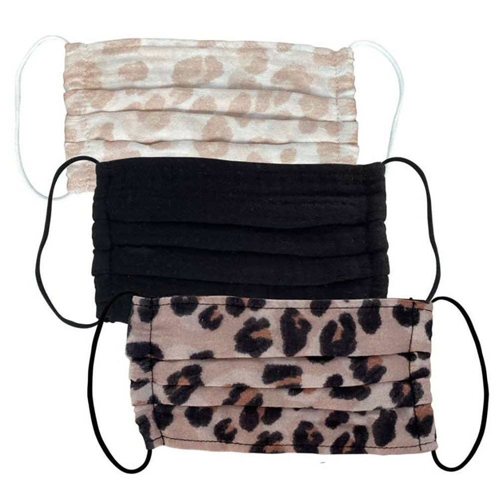 3 Piece Leopard Print Cotton Mask