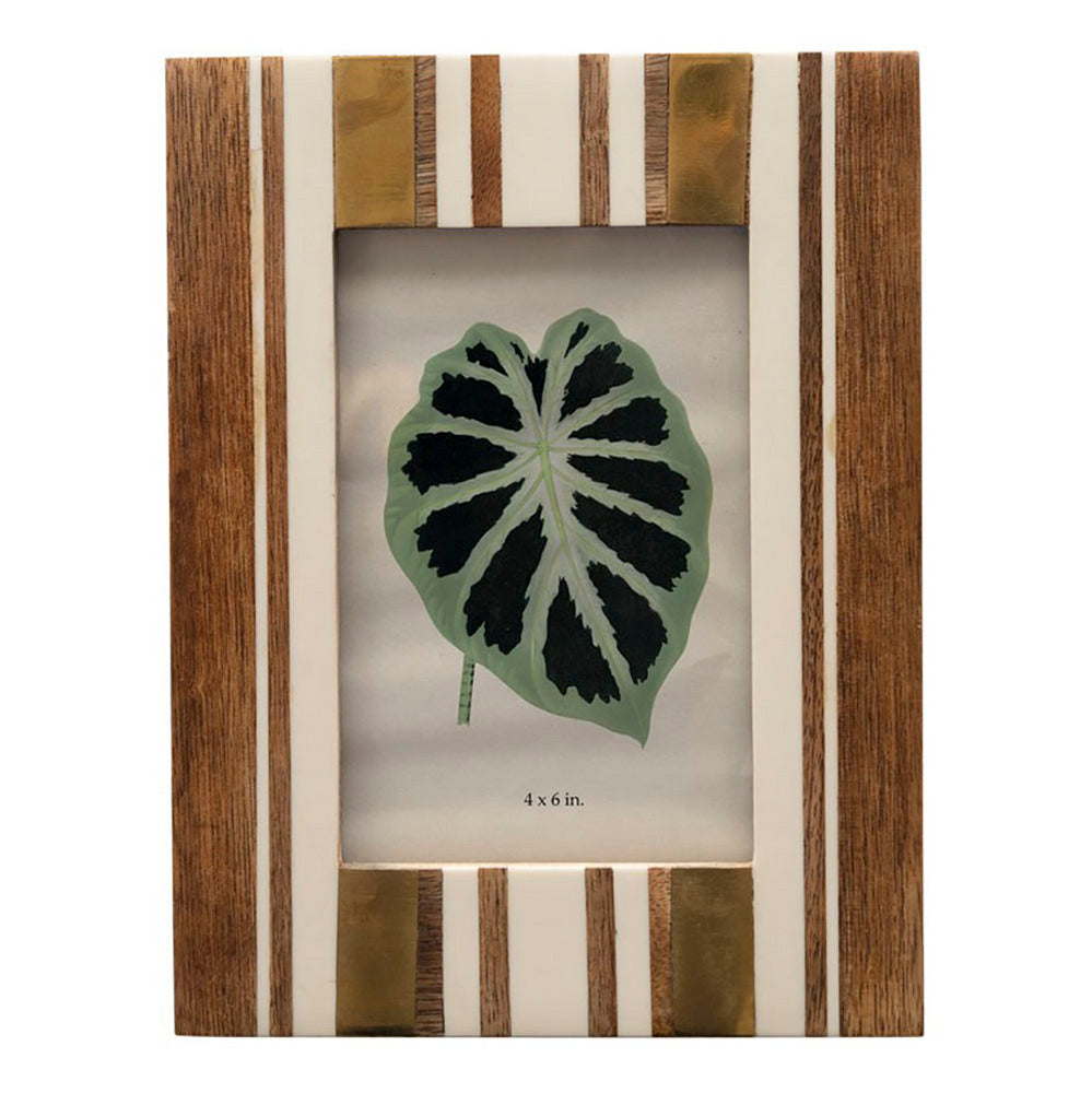 Brown and Ivory Striped Photo Frame