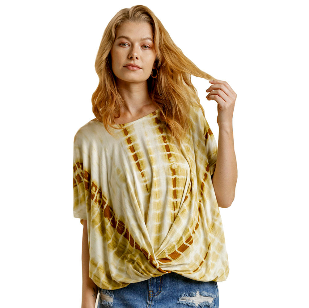 Women's Shibori Tie Dye Top with Front Knot Detail