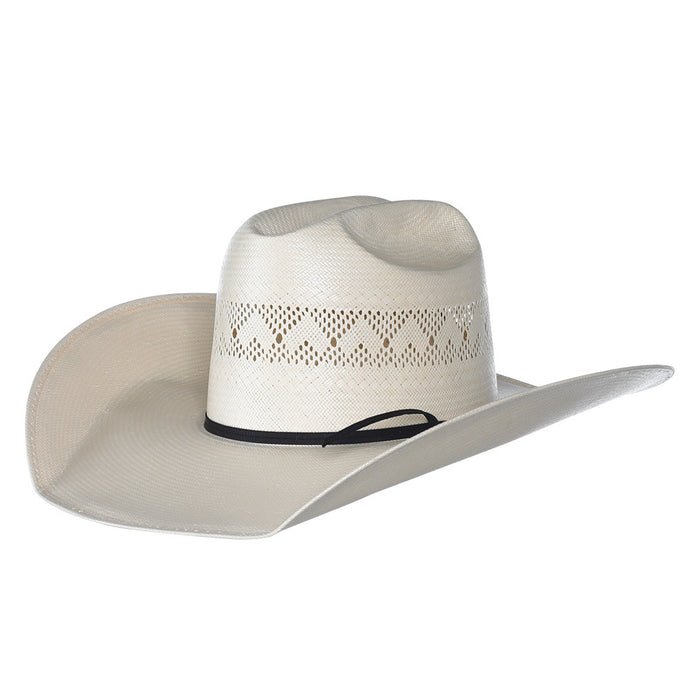 "Rodeo King Ivory High Point Shantung 4 1/2"" Brim Open Crown Straw Hat"