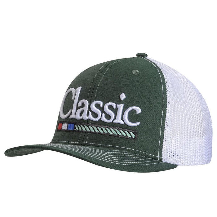 Classic Ropes Green/White Large Embroidered Logo Cap