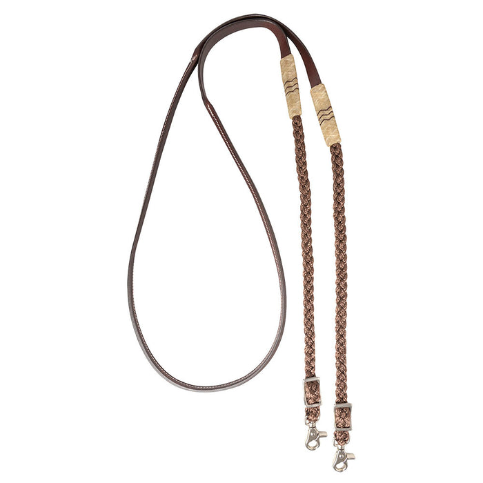 Cashel Adjustable Leather and Braided Rope Reins w/Rawhide Accents