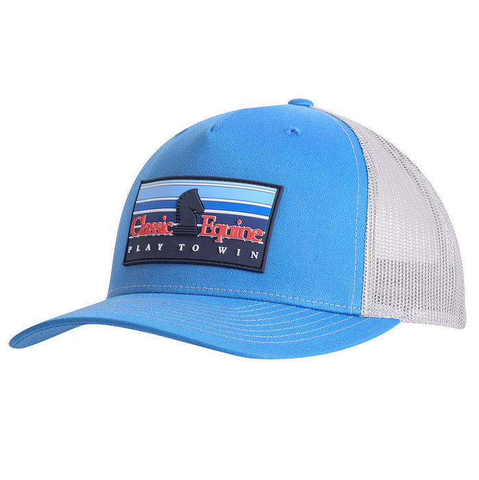 Classic Equine Cobalt Blue and Grey Rubber Patch Logo Cap