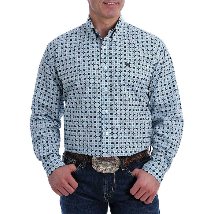 Men's Cinch Blue Printed long sleeve Buttondown
