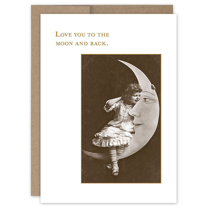 Little Girl On Moon Love Card