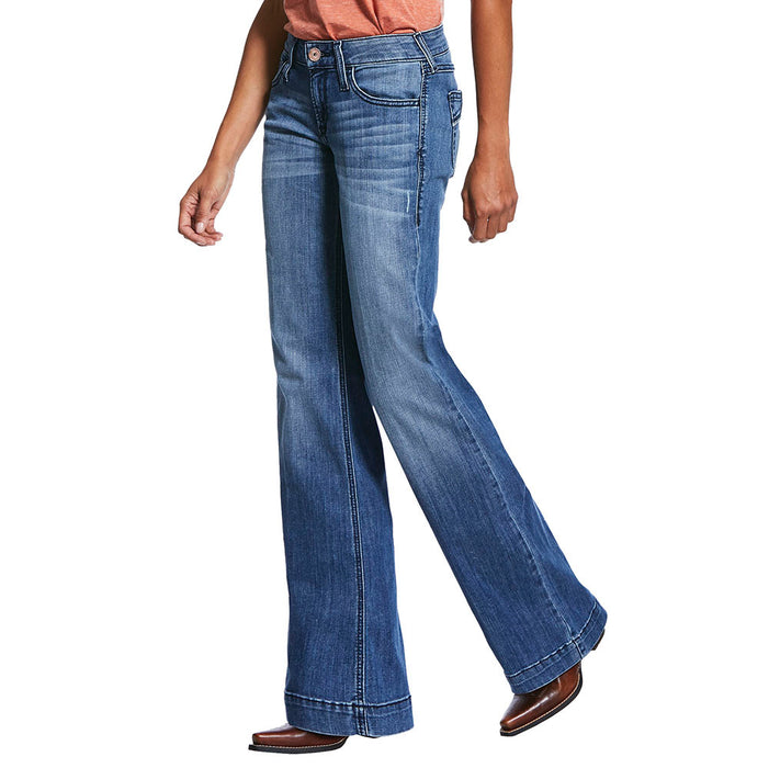 Women's Ariat Mid Rise Stretch Half Moon Trouser Wide Leg Jean
