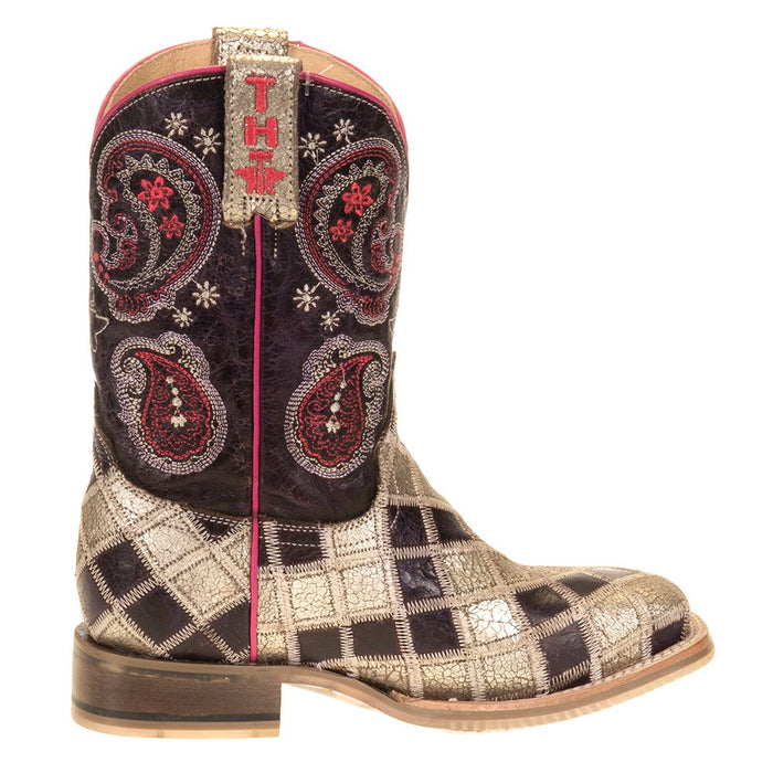 Youth Tin Haul Sparkle Girl Butterfly Sole Cowgirl Boot