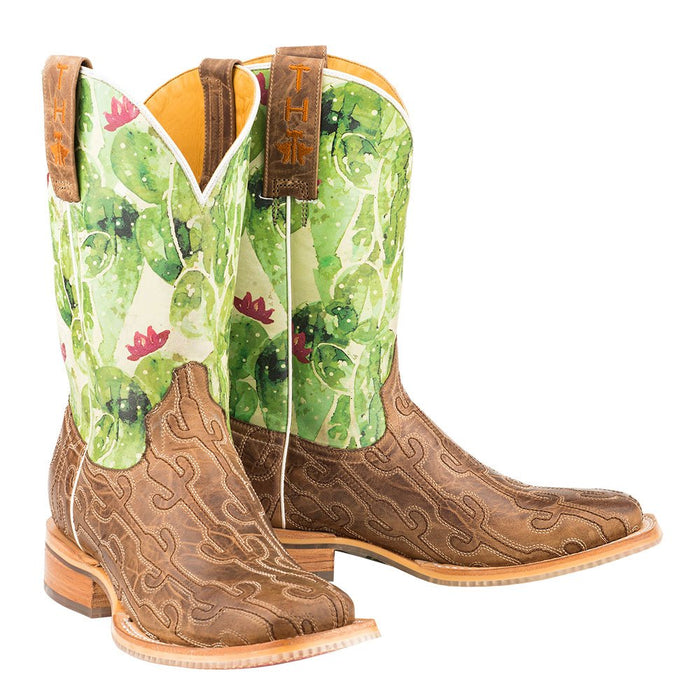 Ladies Burnished Tan Stitched Cactus Vamp Square Toe Cowgirl Boots