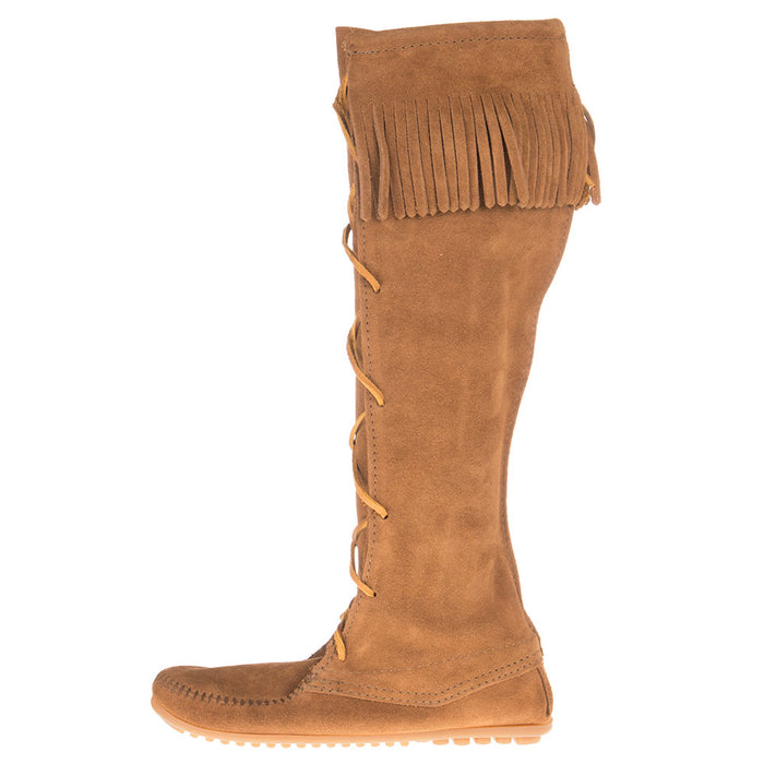 Women's Front Lace Knee High Dusty Brown Boots