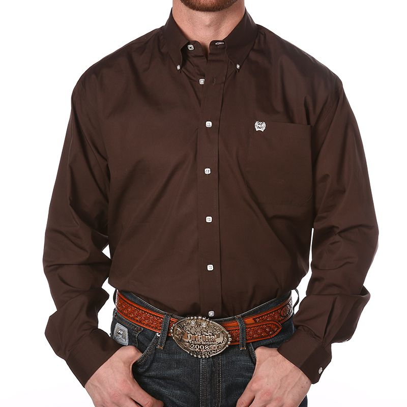 Men's Cinch Brown Pinpoint Oxford Long Sleeve Shirt