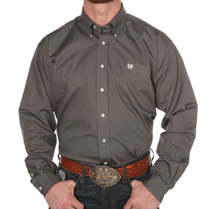 Men's Cinch Grey Pinpoint Oxford Long Sleeve Shirt