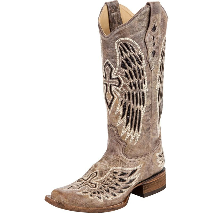 Women's Corral Brown With Black Wings & Cross Cowgirl Boots