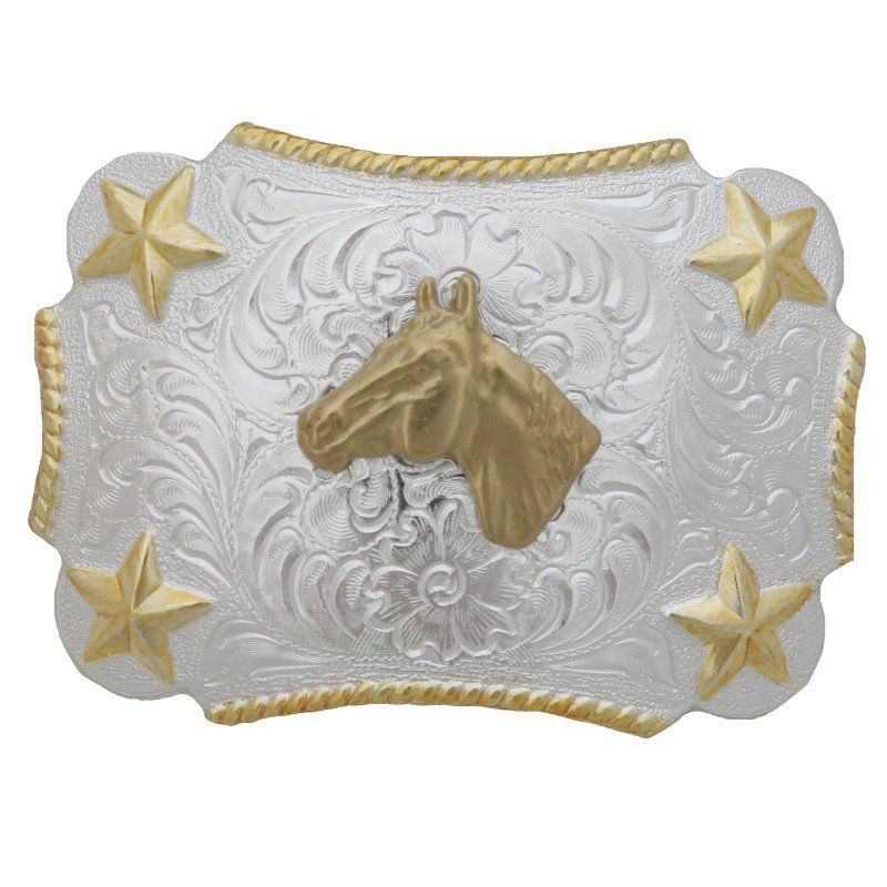 Kid's M&F Silver and Gold Horse Head Buckle