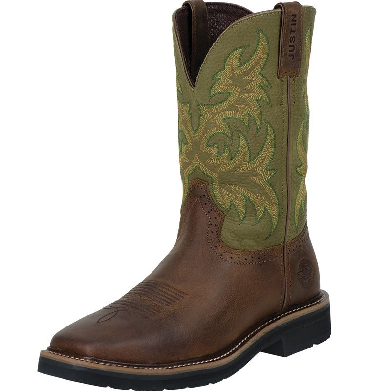 Men's Justin Rowdy Brown-11in Hunter Green Top Work Boots
