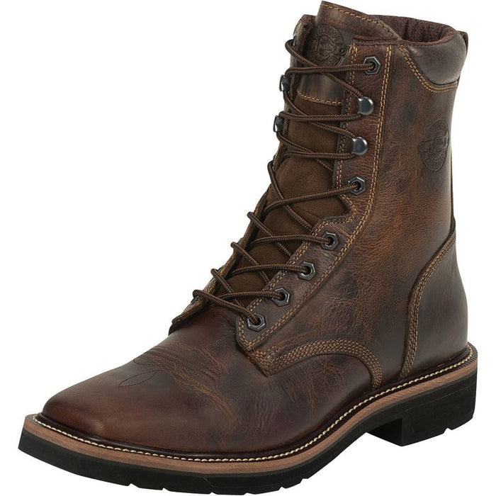 Men S Justin Stampede Rugged Tan Soft Toe Lace Up Work Boots