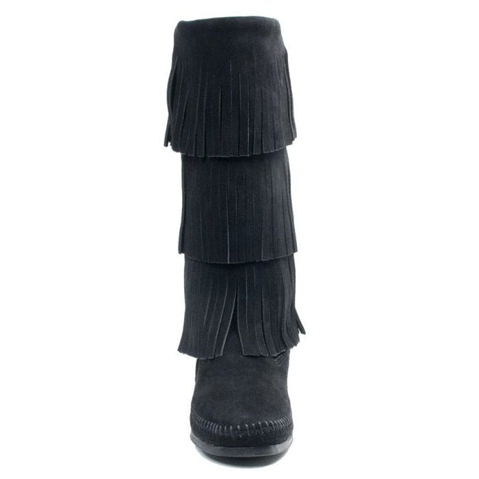 Women's Minnetonka Black 3 Layer Fringe Boots