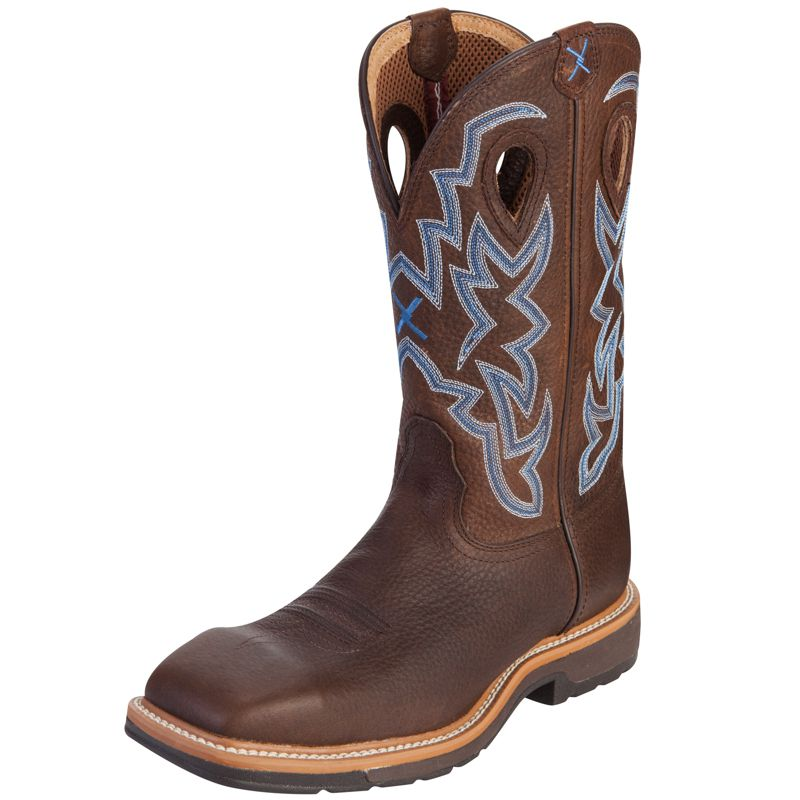 Men's Twisted X Brown Pebble Steel Toe Lite Weight Cowboy Work Boots