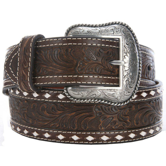 M&F 1 3/4in. Brown Floral Buckstitch Belt