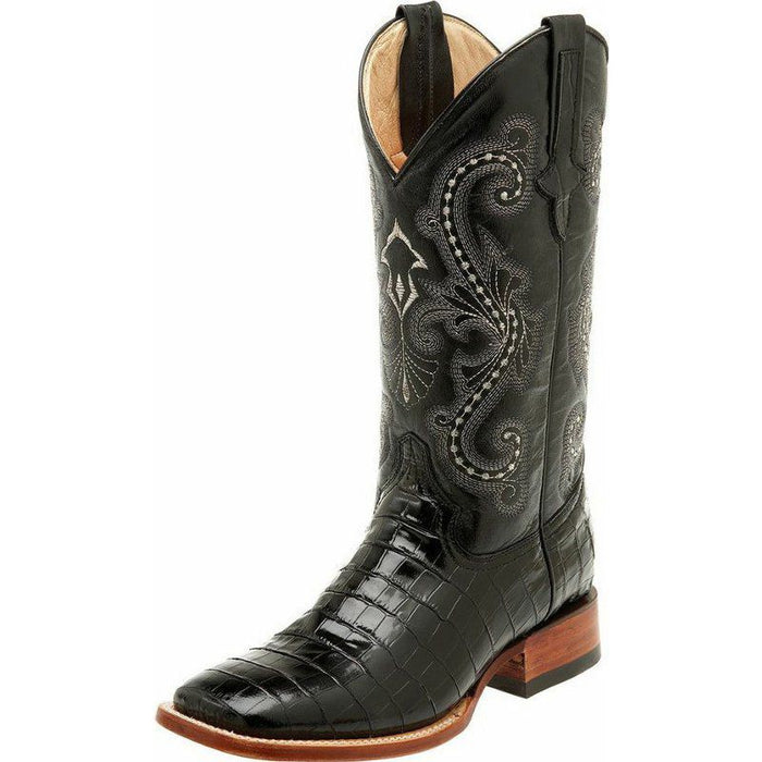 08bda2cb933 Men's Ferrini Black Gator Belly Print Cowboy Boots