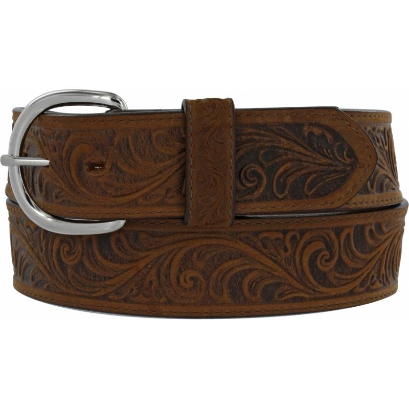 Women's Silver Creek Brown Western Scroll Belt
