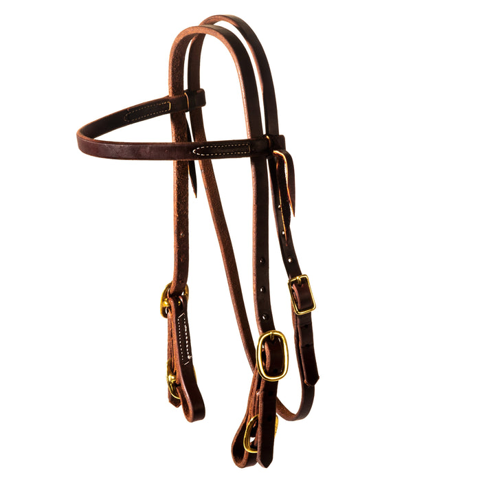 NRS Oiled Four Buckle Browband Headstall