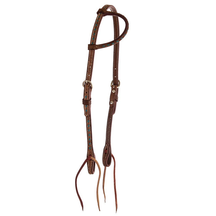 Turquoise Buckstitch Chocolate Roughtout Slip Ear Headstall