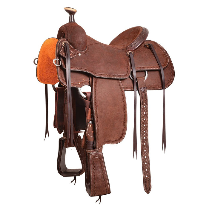 Martin Team Roping Saddle Chocolate Roughout with San Carlos Border