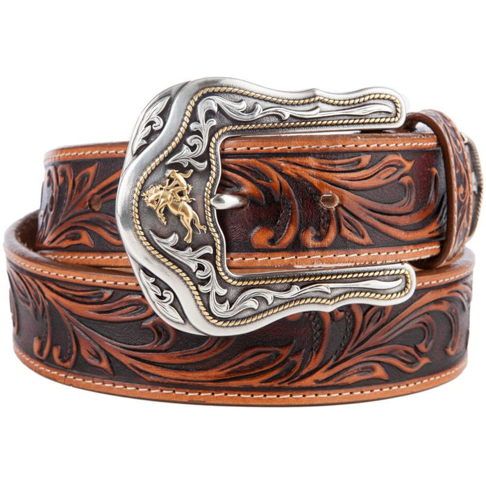 Men's Tony Lama Western Rider Tooled Leather Belt