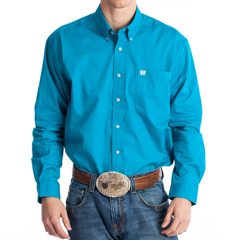 Men's Cinch Teal Pinpoint Oxford Long Sleeve Shirt