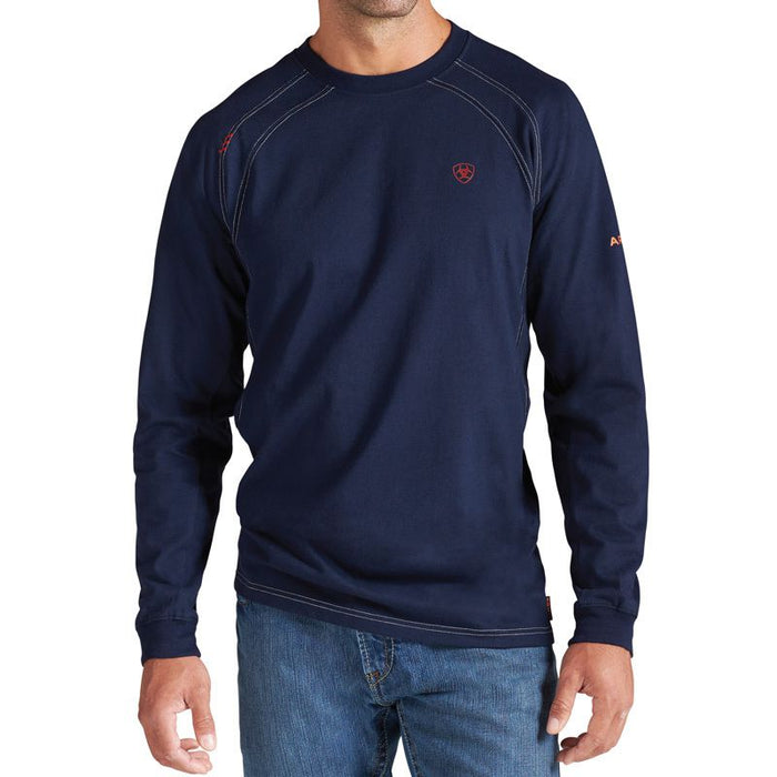 Men's Ariat Flame Resistant Navy Work Crew Shirt