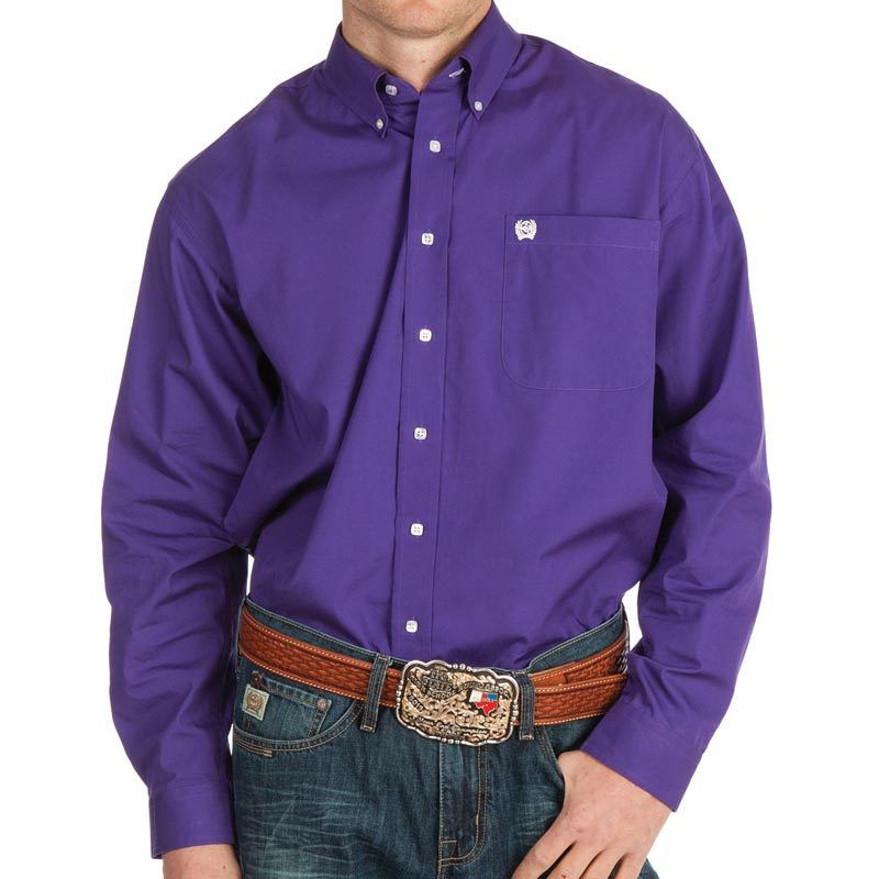 Men's Cinch Purple Pinpoint Oxford Long Sleeve Shirt-3X
