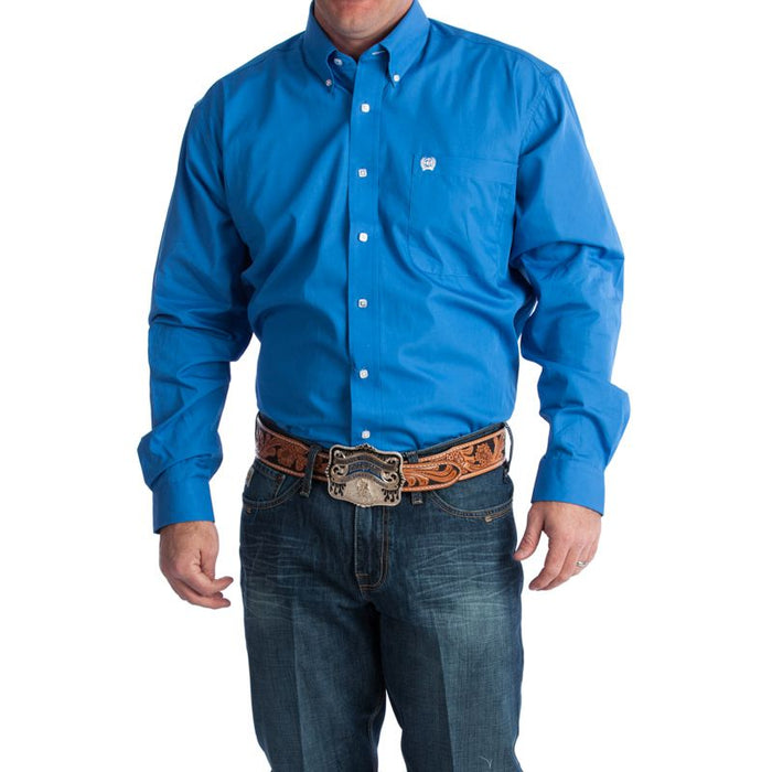 Men's Cinch Blue Pinpoint Oxford Long Sleeve Shirt-3X
