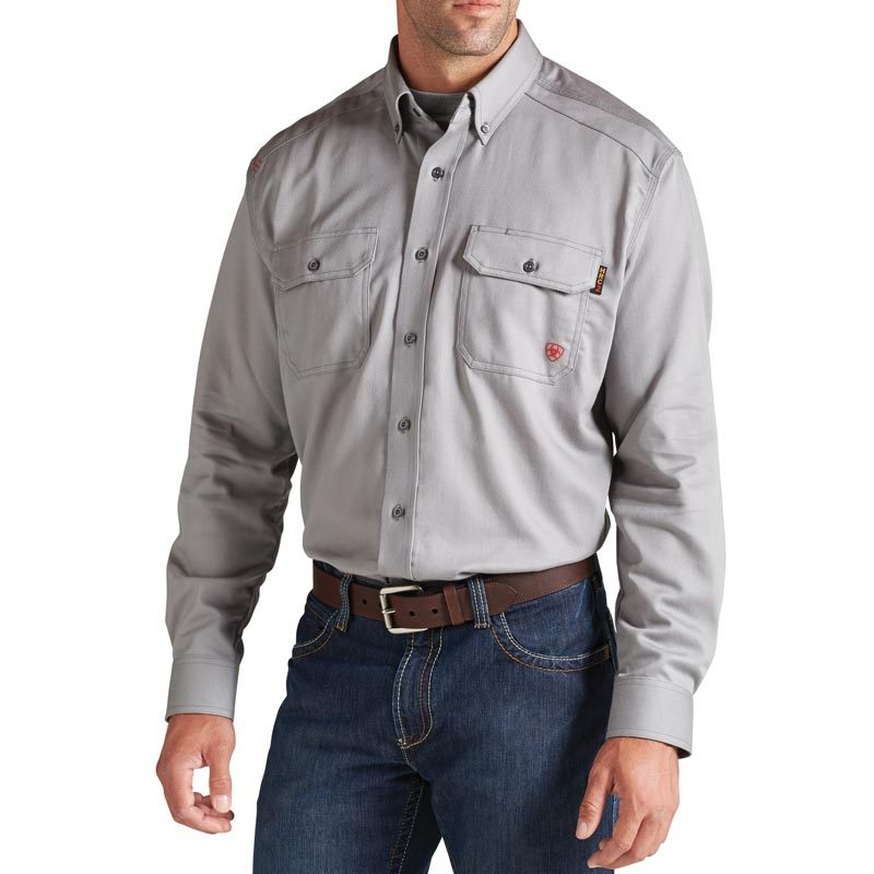 Men's Ariat Flame Resistant 'FR' Solid Grey Work Shirt