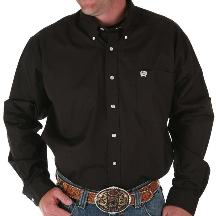Men's Cinch Black Pinpoint Oxford Long Sleeve Shirt-3X
