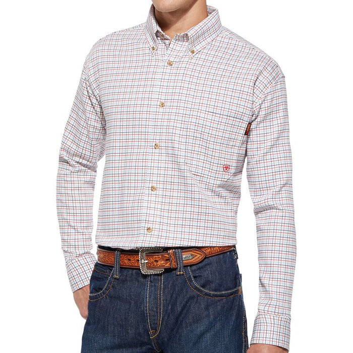 Men's Ariat White and Red Plaid Flame Resistant Work Shirt