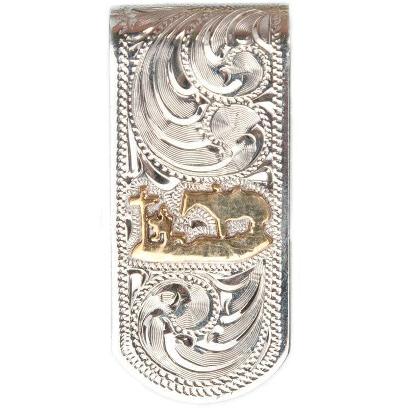 Hand Engraved Silver Cowboy Prayer Money Clip