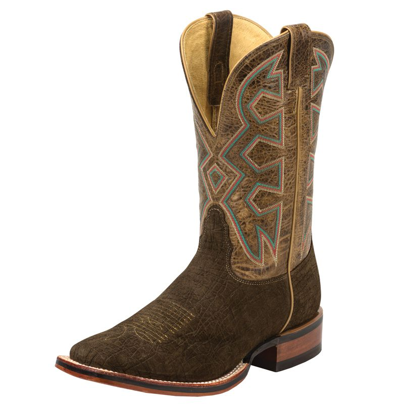 Men's Nocona Brown Hippo Print Let's Rodeo Cowboy Boots