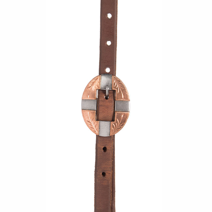 5/8in. Oiled Slide Ear Quick Change Headstall with Copper Bar Buckles