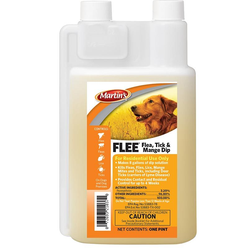 Martin's FLEE Flea Tick and Mange Dip 16 oz