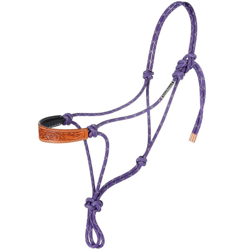 Double Diamond Nylon Rope Halter with Floral Noseband
