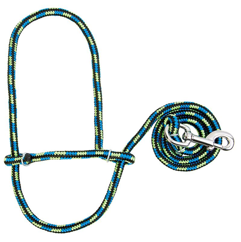 Weaver Leather Sheep Rope Halter with Snap Black/Hurricane Blue/Lime Zest